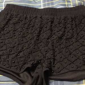 Black beaded shorts